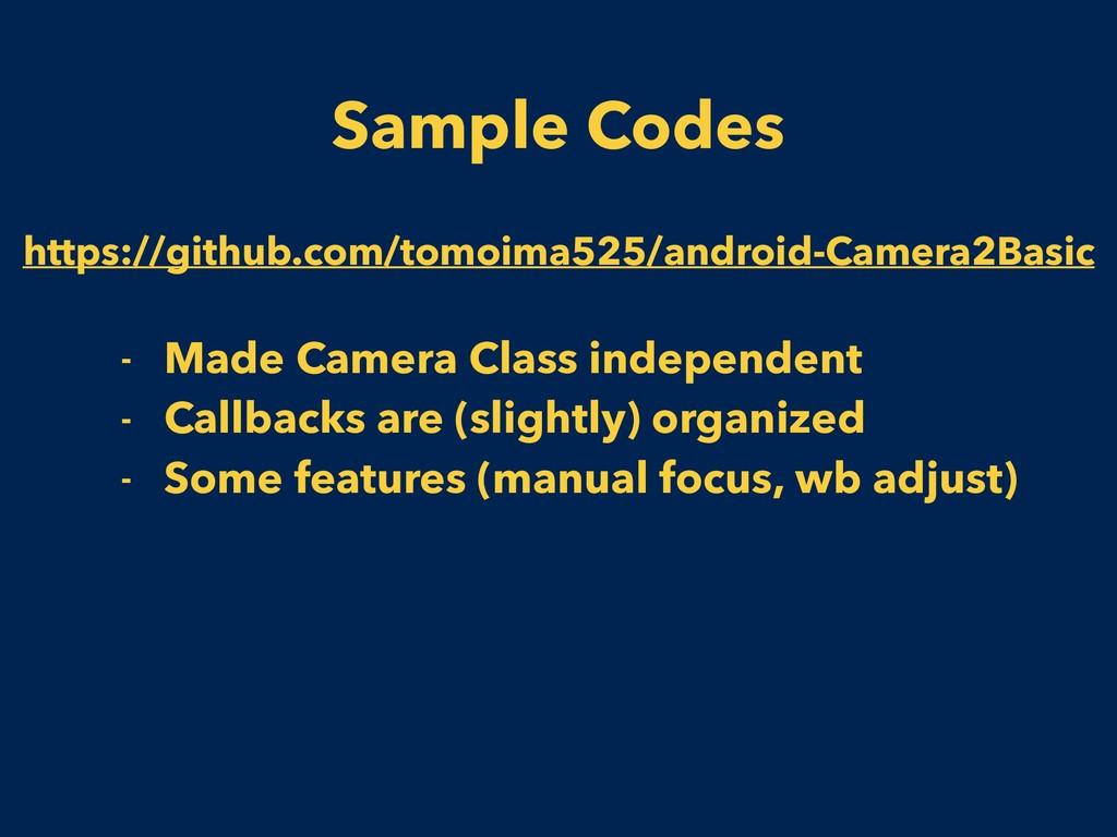 Sample Codes https://github.com/tomoima525/andr...