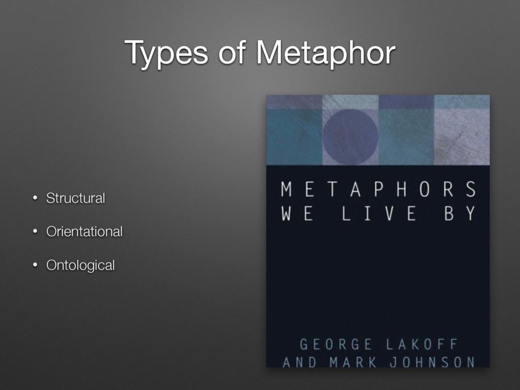 Types of Metaphor • Structural • Orientational ...