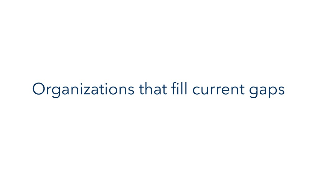 Organizations that fill current gaps