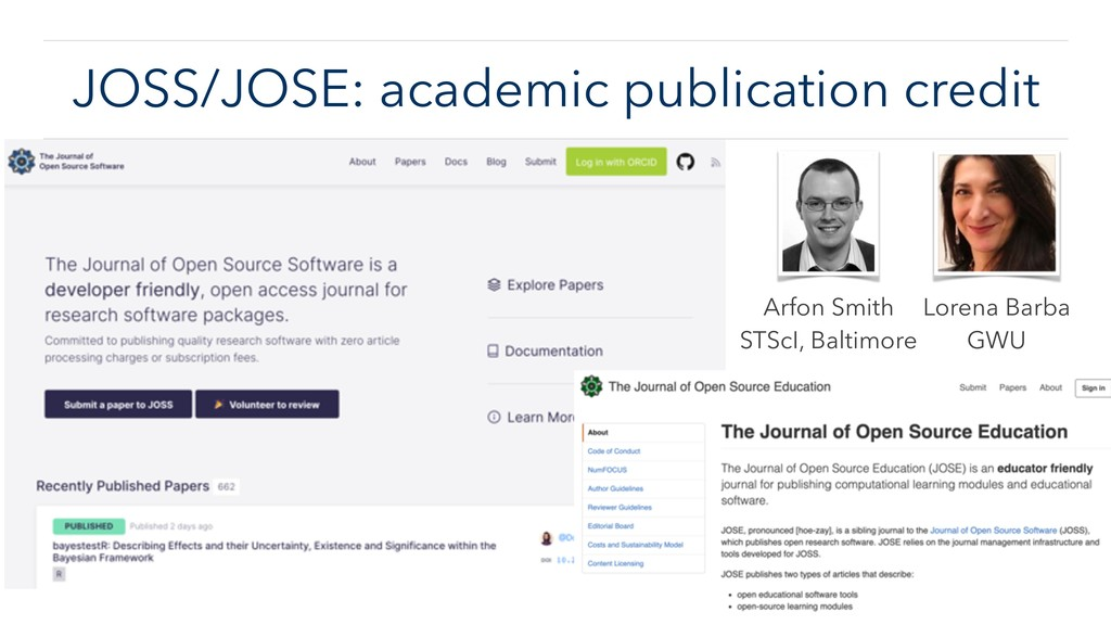 JOSS/JOSE: academic publication credit Arfon Sm...