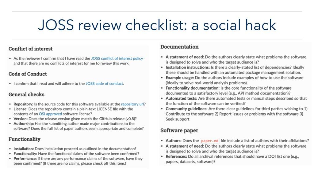 JOSS review checklist: a social hack