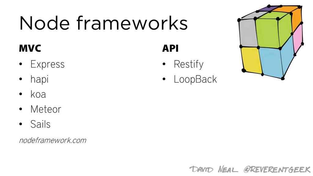 Node frameworks MVC • Express • hapi • koa • Me...