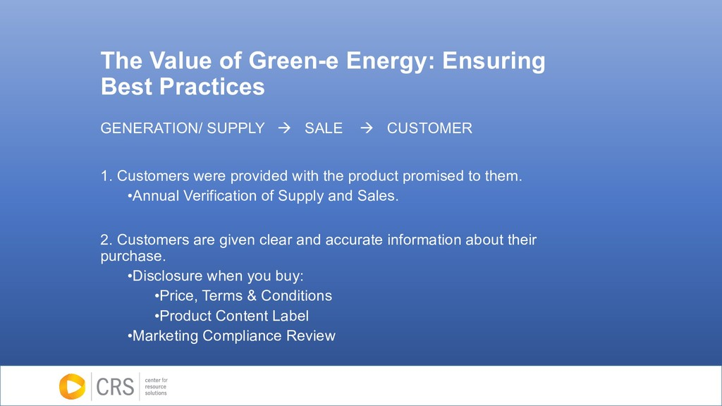 The Value of Green-e Energy: Ensuring Best Prac...