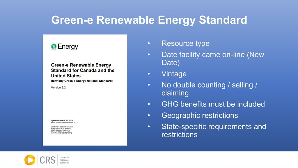 Green-e Renewable Energy Standard • Resource ty...