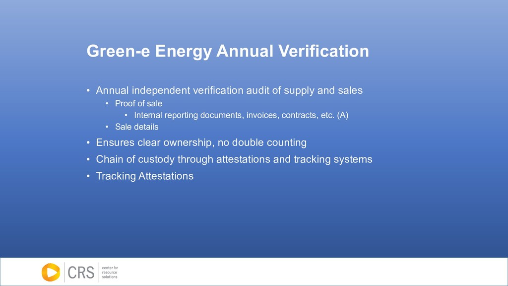 Green-e Energy Annual Verification • Annual ind...