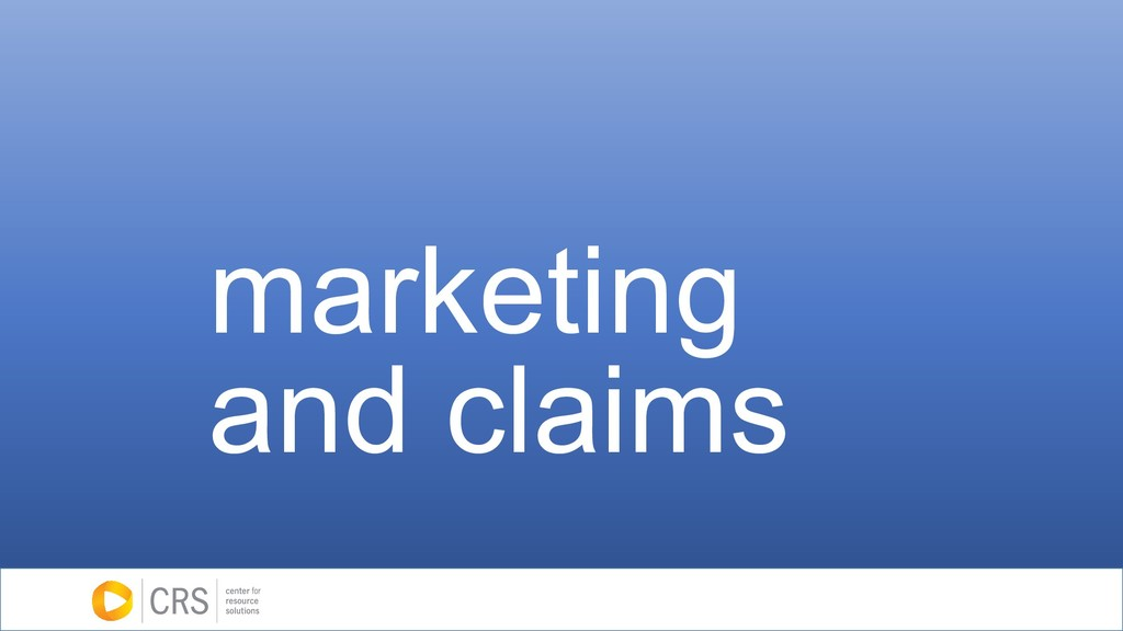 marketing and claims