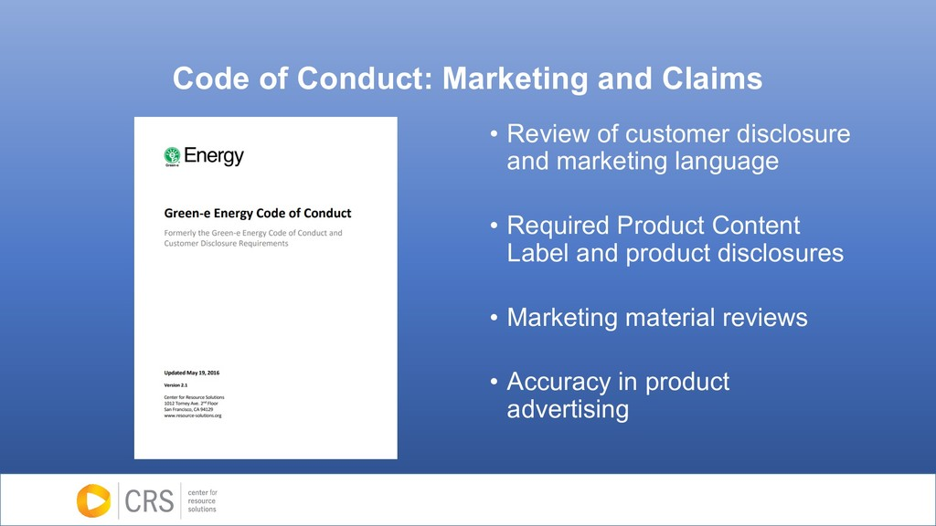 Code of Conduct: Marketing and Claims • Review ...