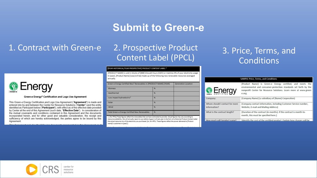 Submit to Green-e 1. Contract with Green-e 2. P...
