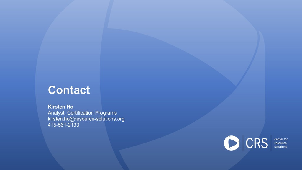 Contact Kirsten Ho Analyst, Certification Progr...