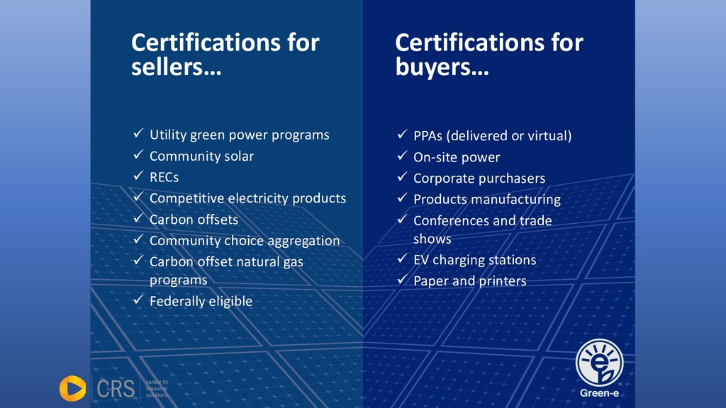 Certifications for sellers… ü Utility green pow...