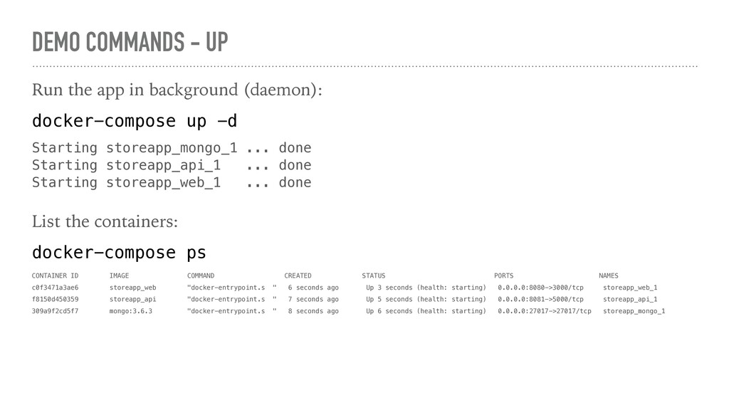 DEMO COMMANDS - UP Run the app in background (d...