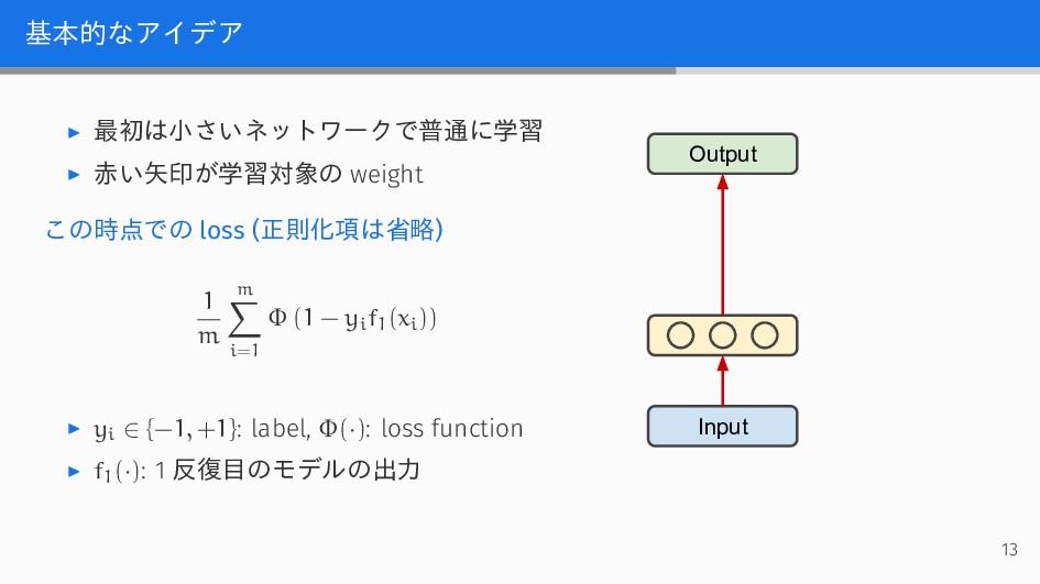 基本的なアイデア ▶ 最初は小さいネットワークで普通に学習 ▶ 赤い矢印が学習対象の weig...