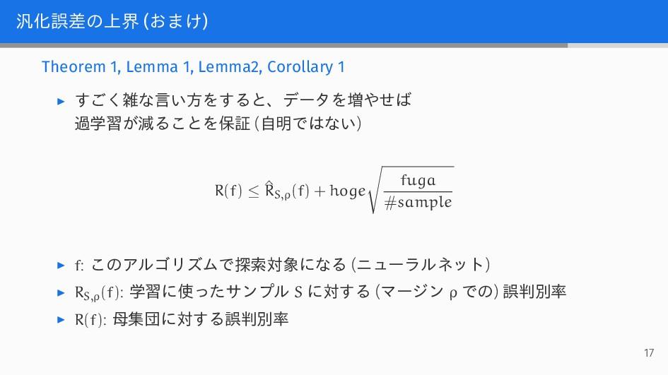 汎化誤差の上界 (おまけ) Theorem 1, Lemma 1, Lemma2, Corol...