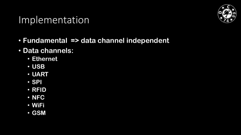 Implementation • Fundamental => data channel in...