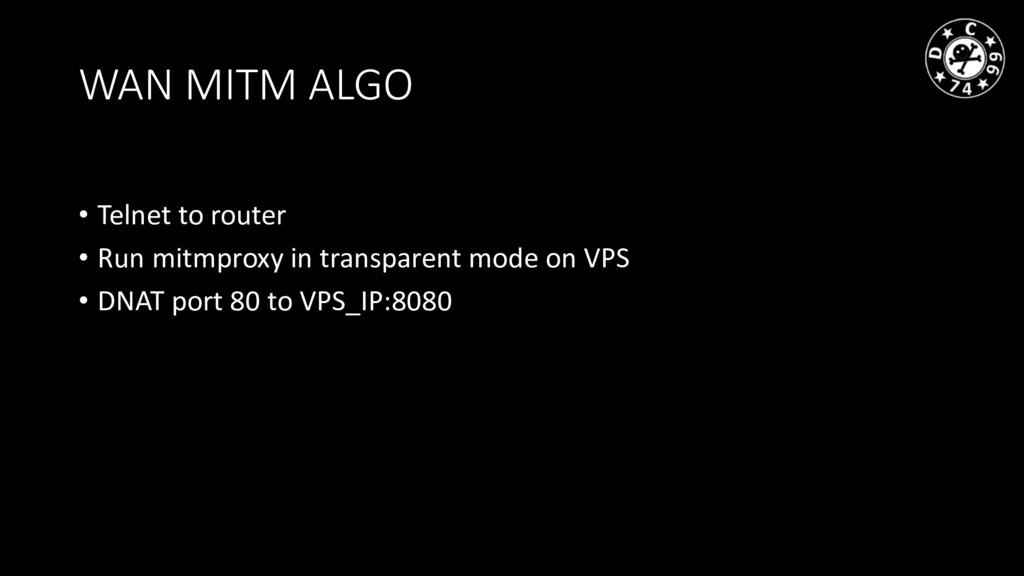 WAN MITM ALGO • Telnet to router • Run mitmprox...