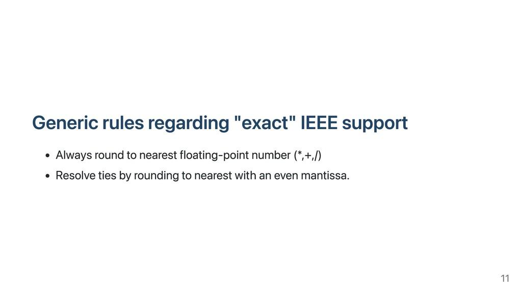 """Generic rules regarding """"exact"""" IEEE support Al..."""