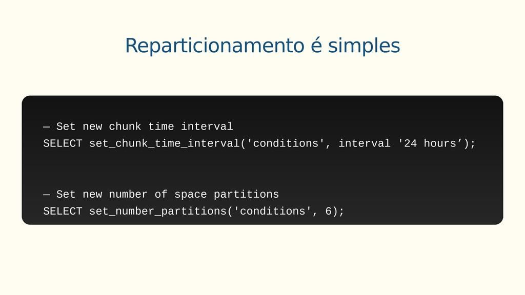 — Set new chunk time interval SELECT set_chunk_...