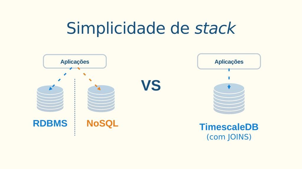 Simplicidade de stack VS TimescaleDB (com JOINS...