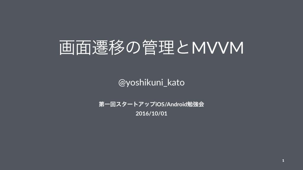 ը໘ભҠͷཧͱMVVM @yoshikuni_kato ୈҰճελʔτΞοϓiOS/Andr...