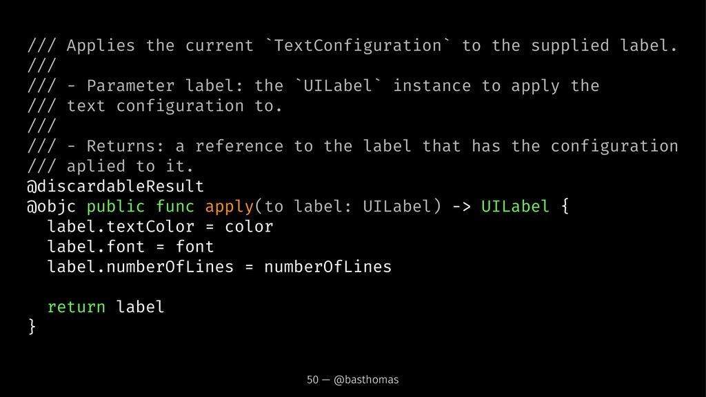 /// Applies the current `TextConfiguration` to ...
