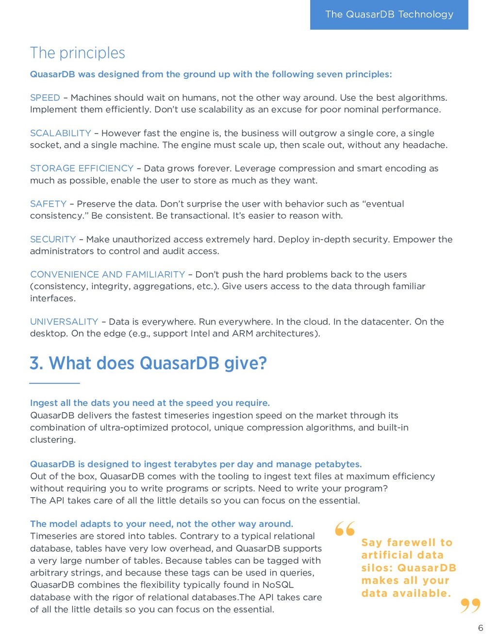The principles The QuasarDB Technology Ingest a...