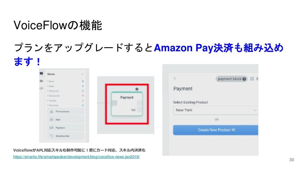 30 VoiceFlowの機能 プランをアップグレードするとAmazon Pay決済も組み込め...
