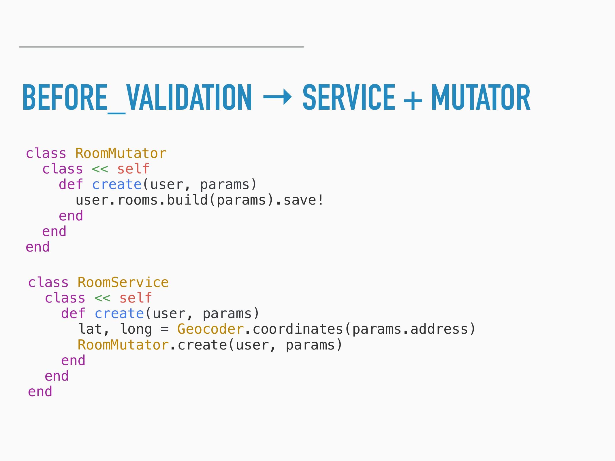 BEFORE_VALIDATION → SERVICE + MUTATOR class Roo...