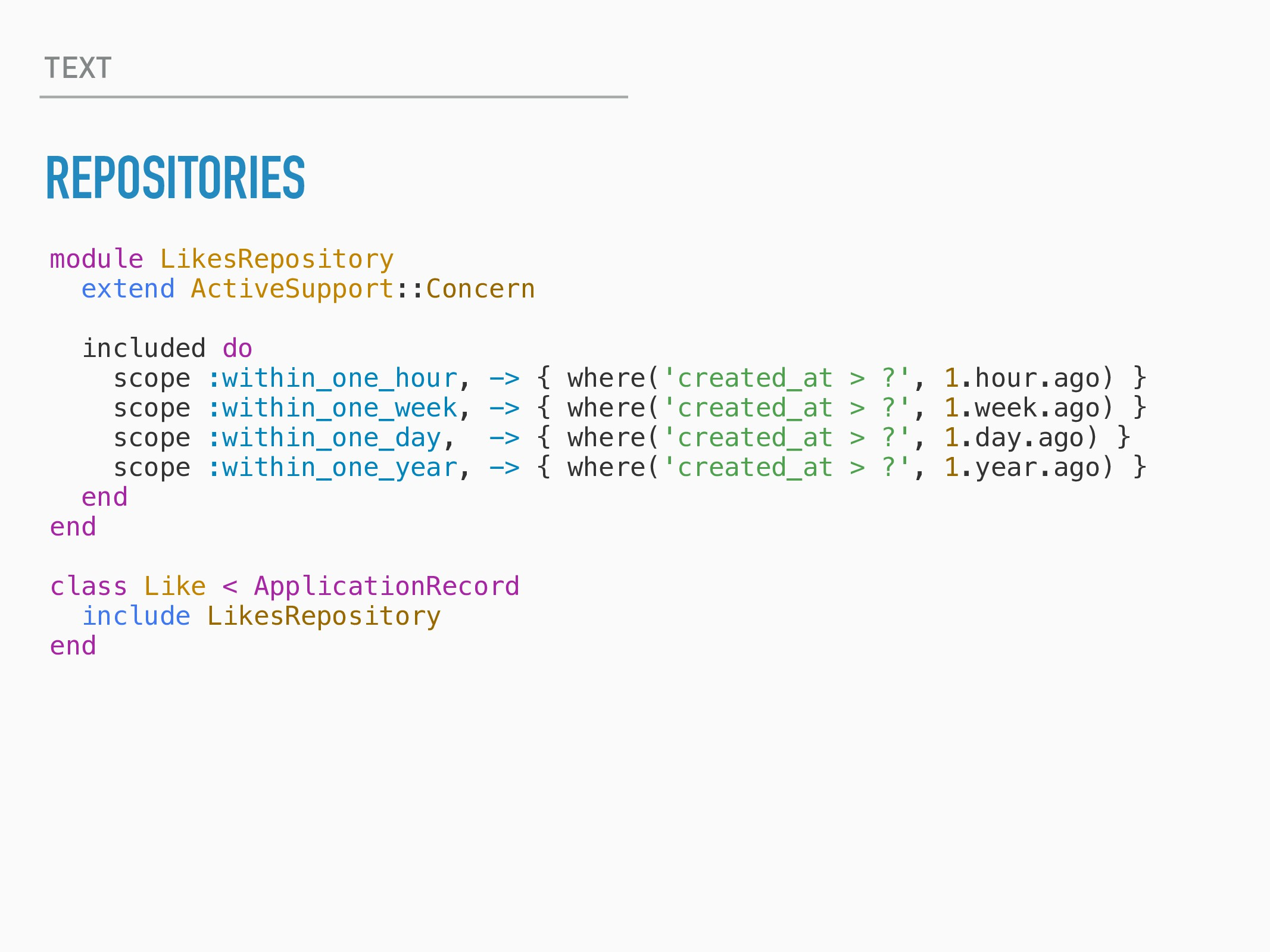 TEXT REPOSITORIES module LikesRepository extend...