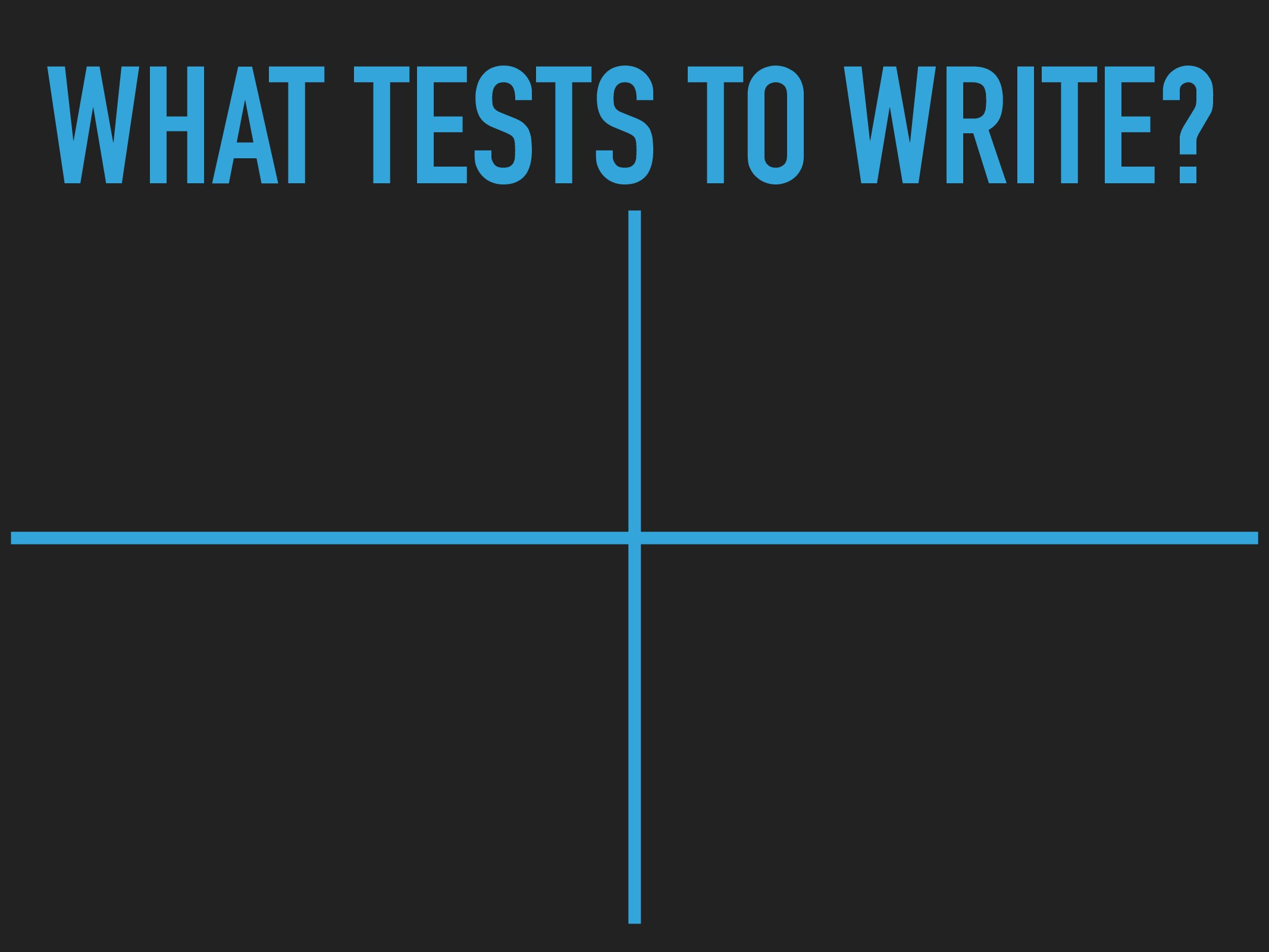 WHAT TESTS TO WRITE?
