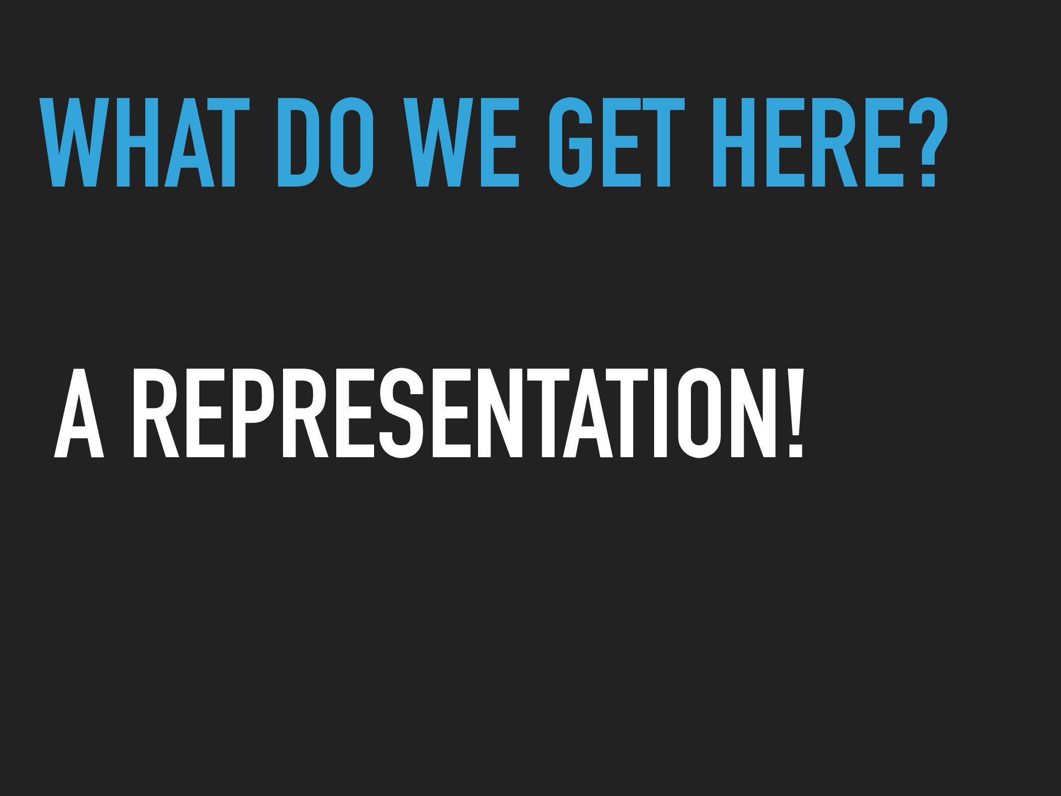 WHAT DO WE GET HERE? A REPRESENTATION!