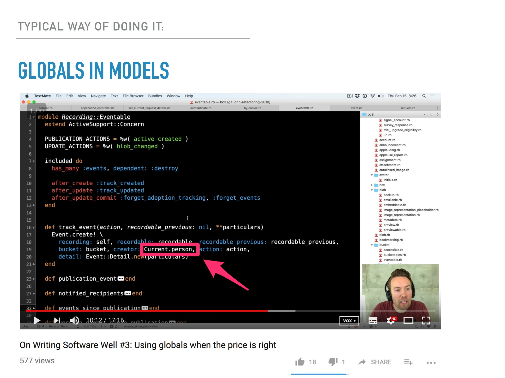 GLOBALS IN MODELS TYPICAL WAY OF DOING IT:
