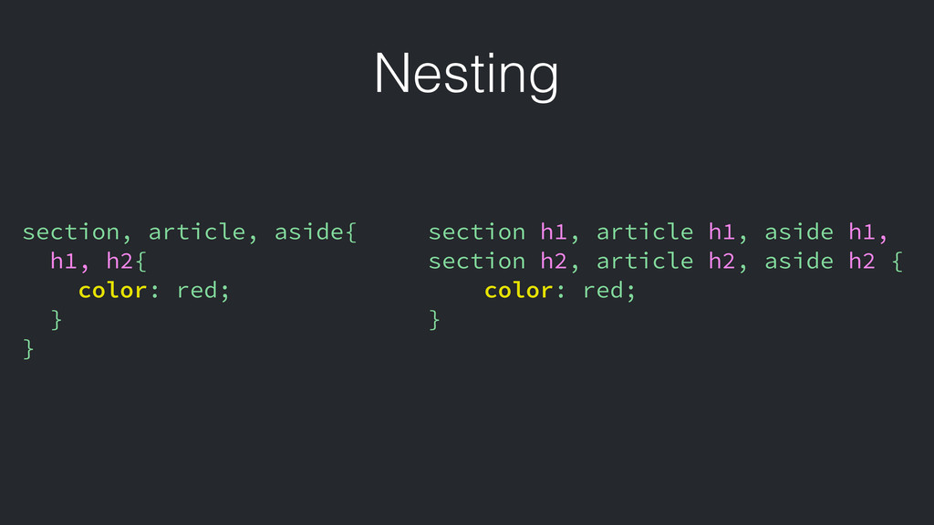 Nesting section, article, aside{ h1, h2{ color:...