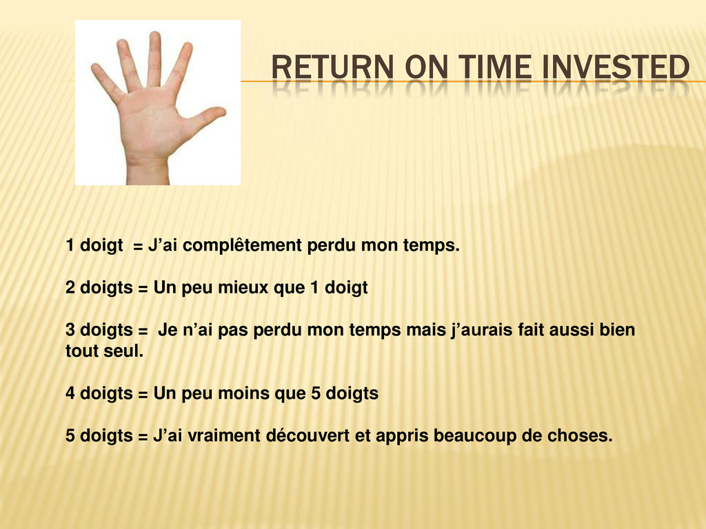 RETURN ON TIME INVESTED 1 doigt = J'ai complête...