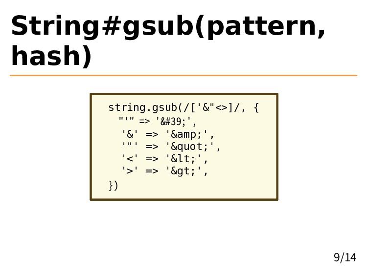 "String#gsub(pattern, hash) string.gsub(/['&""<>]..."