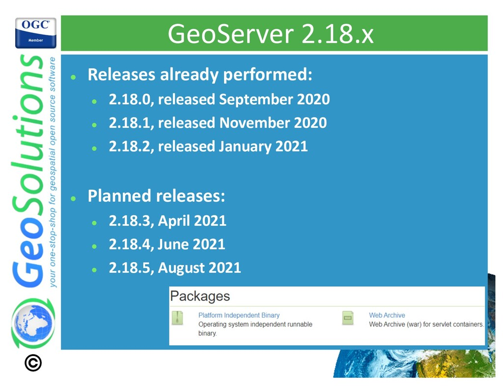 GeoServer 2.18.x l Releases already performed: ...