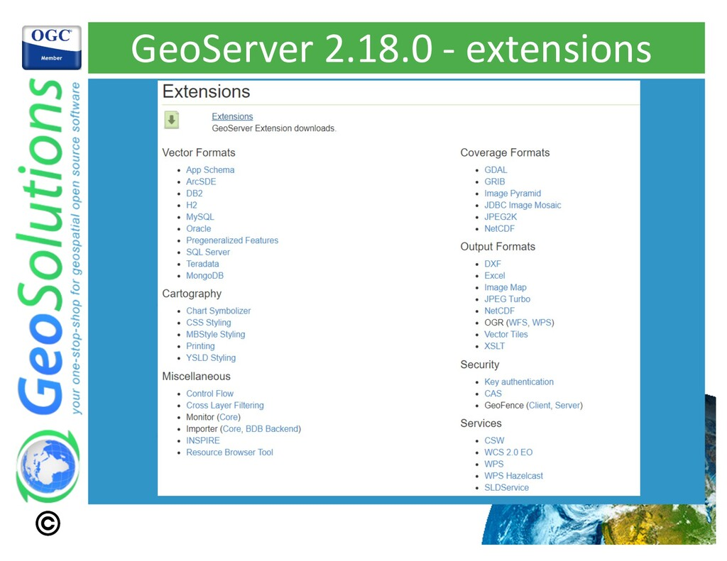 GeoServer 2.18.0 - extensions
