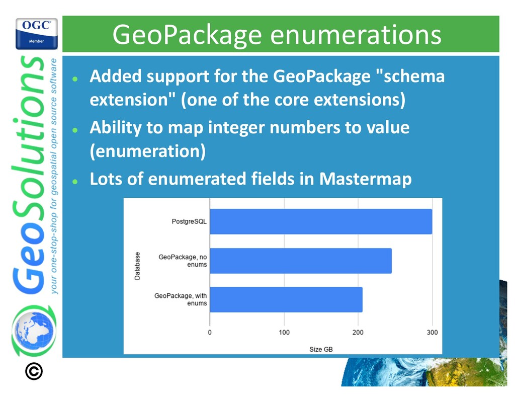 GeoPackage enumerations l Added support for the...