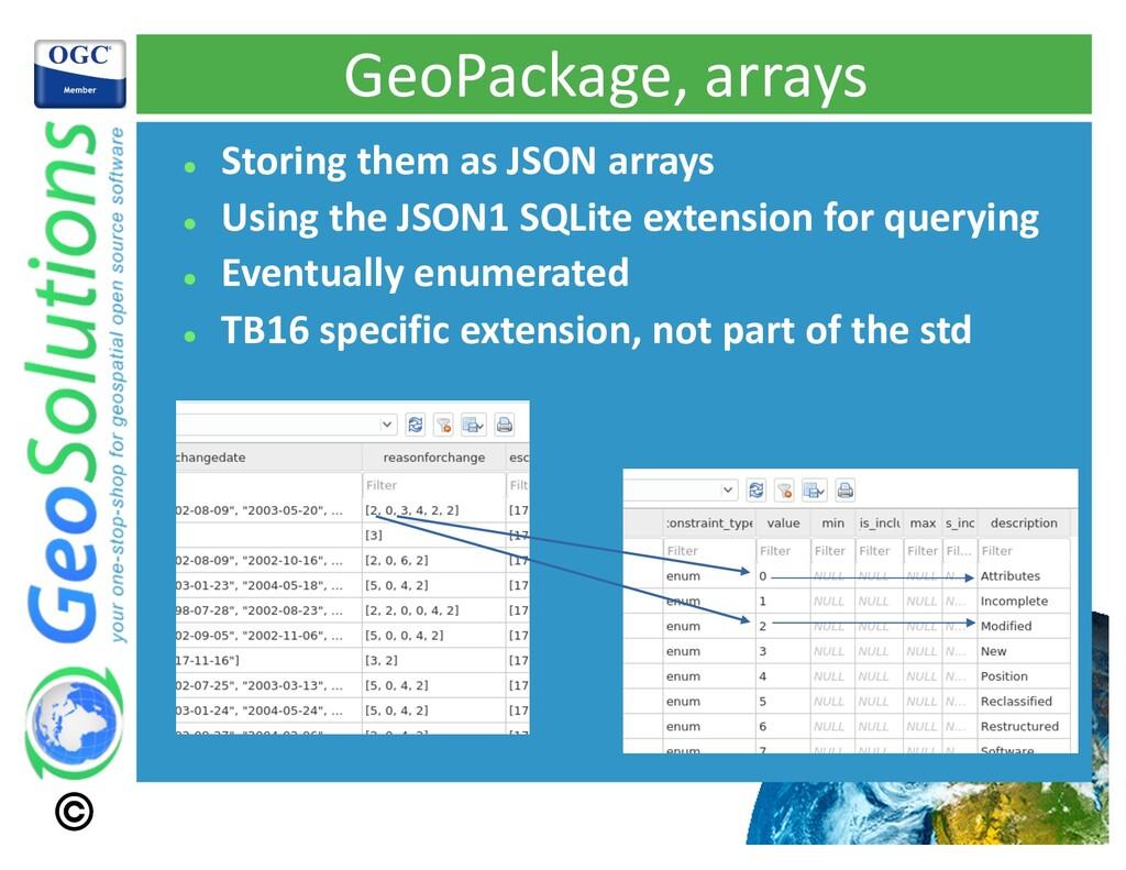 GeoPackage, arrays l Storing them as JSON array...