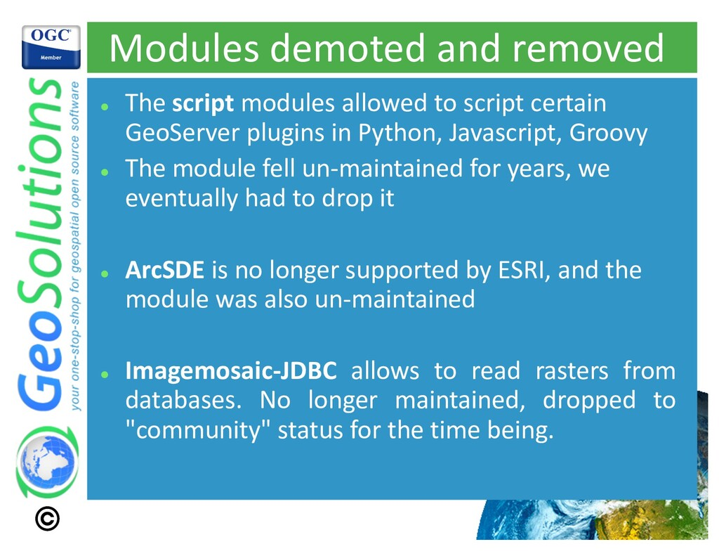 Modules demoted and removed l The script module...