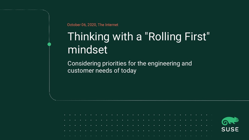 """Thinking with a """"Rolling First"""" mindset Conside..."""
