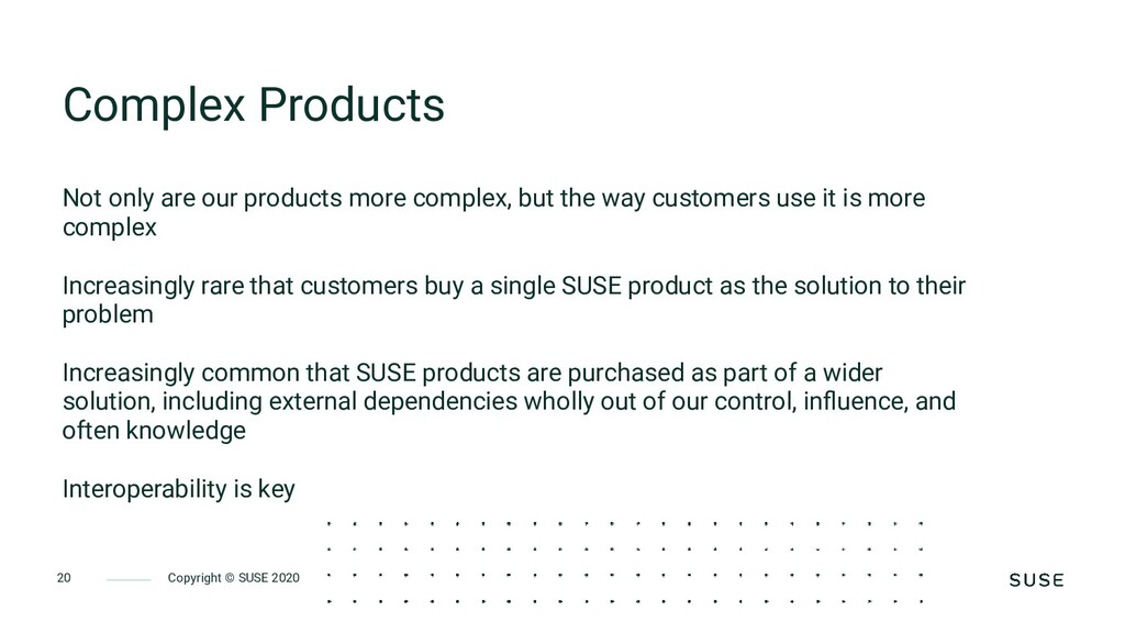 Copyright © SUSE 2020 20 Complex Products Not o...