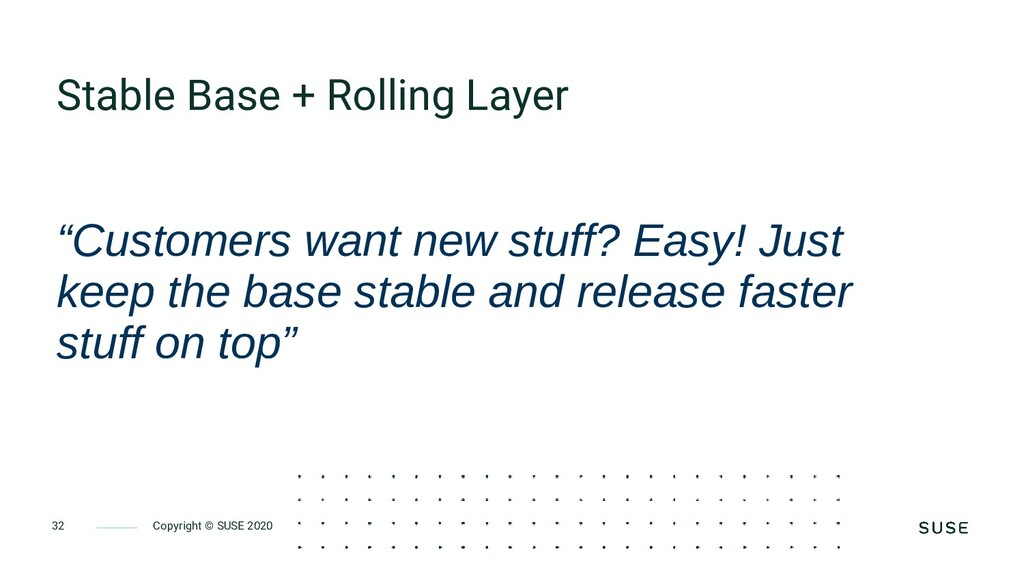 Copyright © SUSE 2020 32 Stable Base + Rolling ...