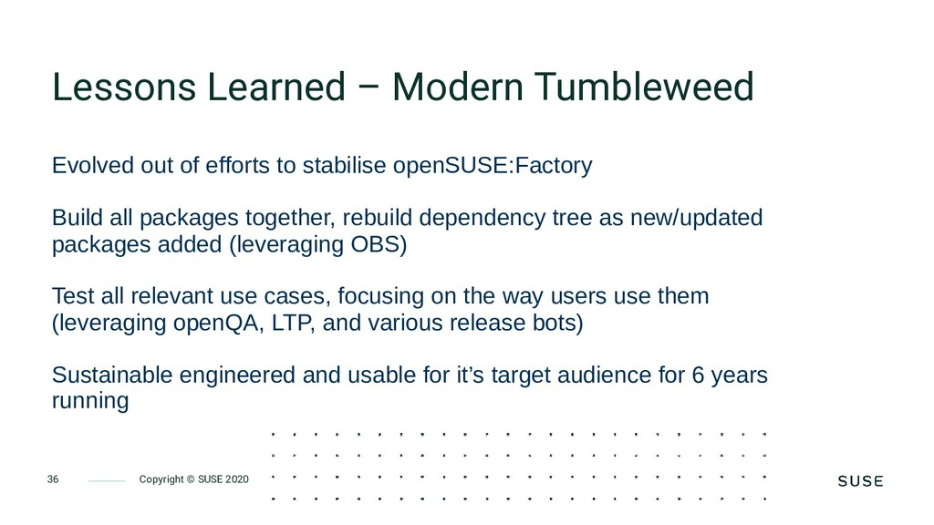 Copyright © SUSE 2020 36 Lessons Learned – Mode...