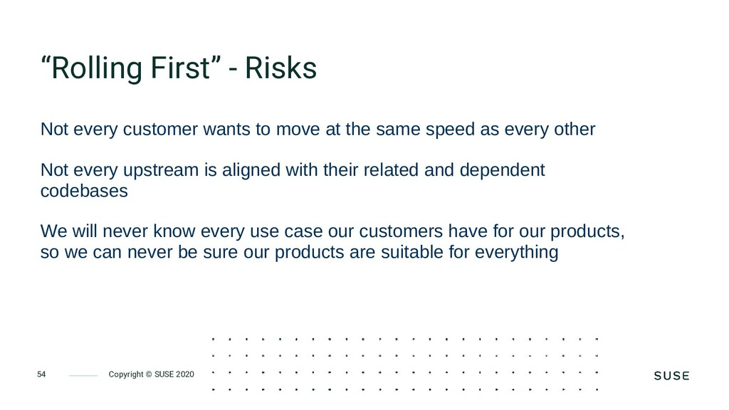 """Copyright © SUSE 2020 54 """"Rolling First"""" - Risk..."""