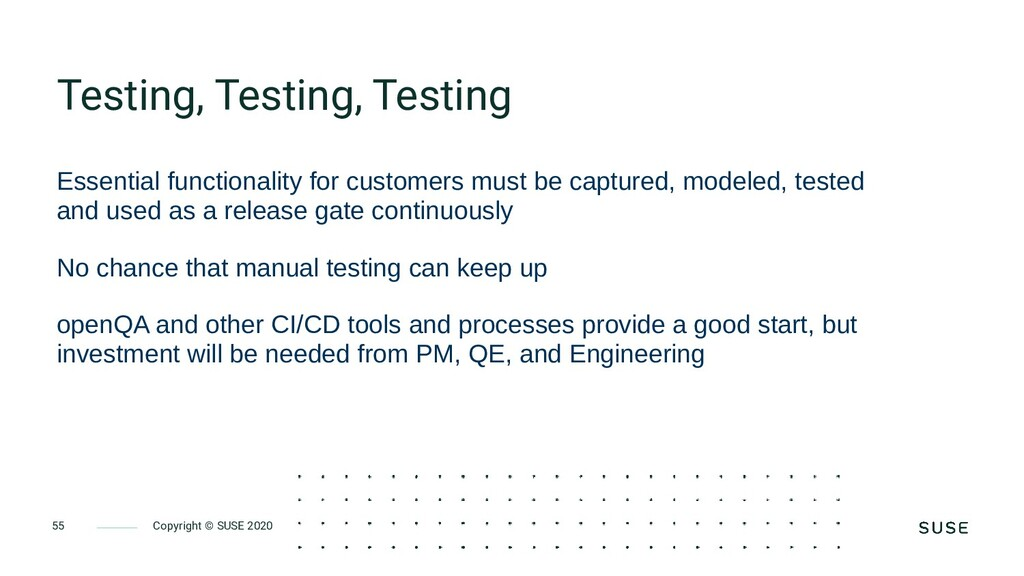 Copyright © SUSE 2020 55 Testing, Testing, Test...