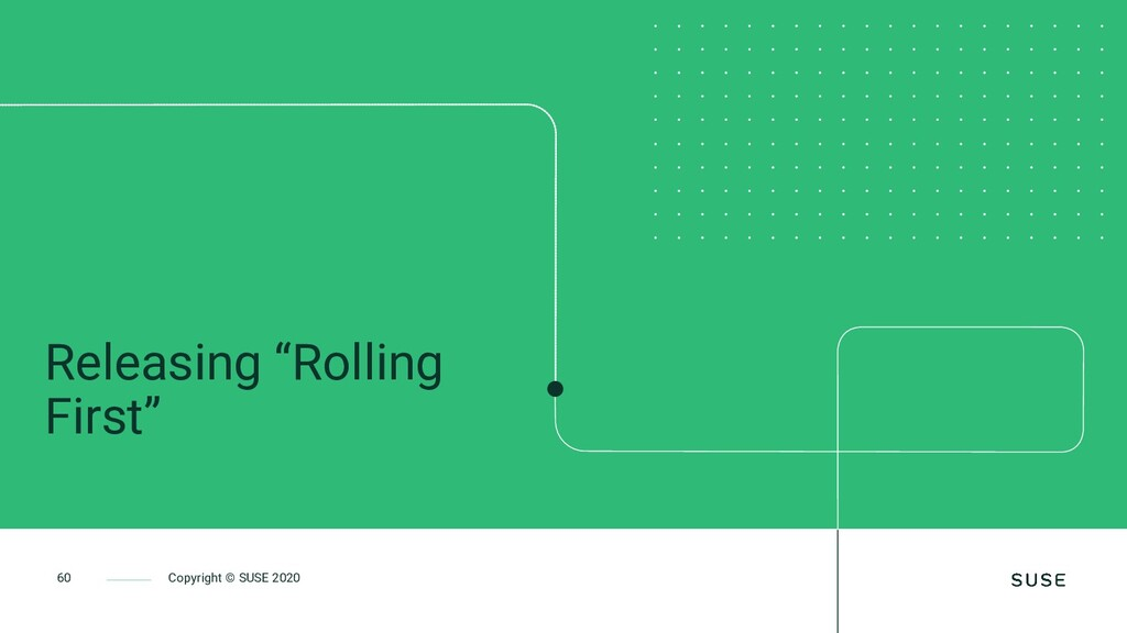 """60 Copyright © SUSE 2020 Releasing """"Rolling Fir..."""