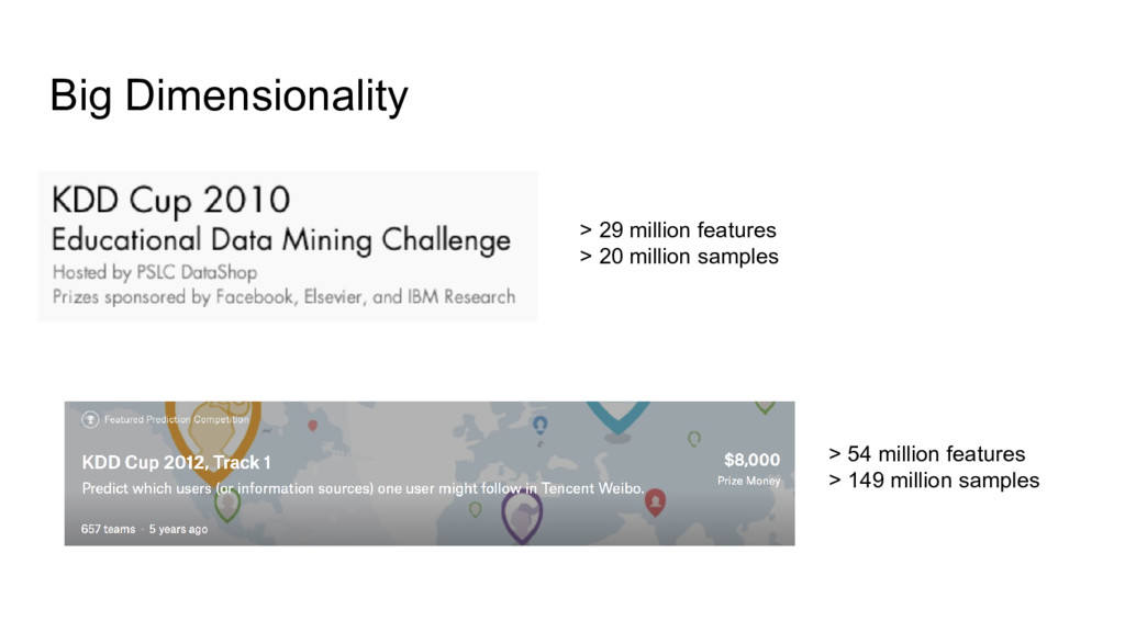 Big Dimensionality > 29 million features > 20 m...