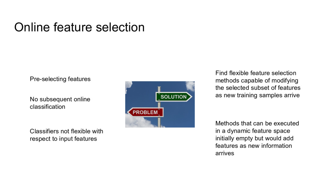 Online feature selection Pre-selecting features...