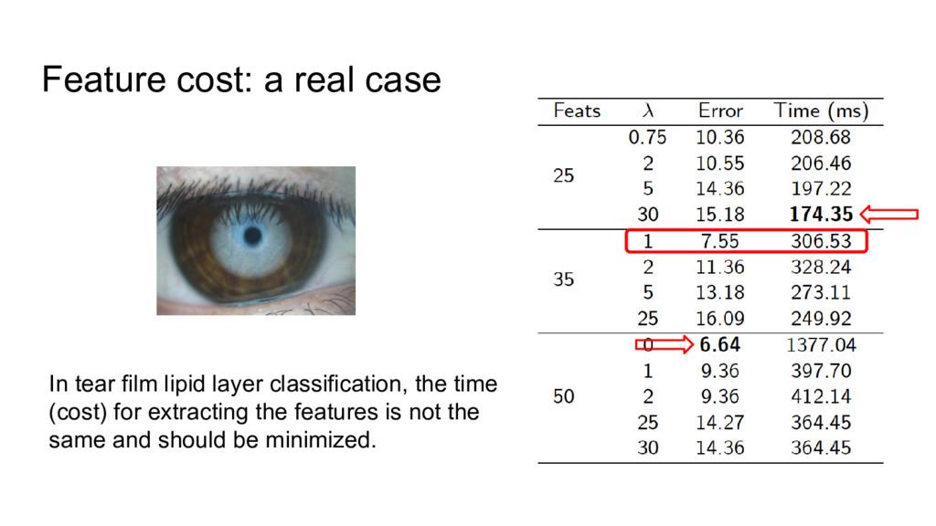 Feature cost: a real case In tear film lipid la...