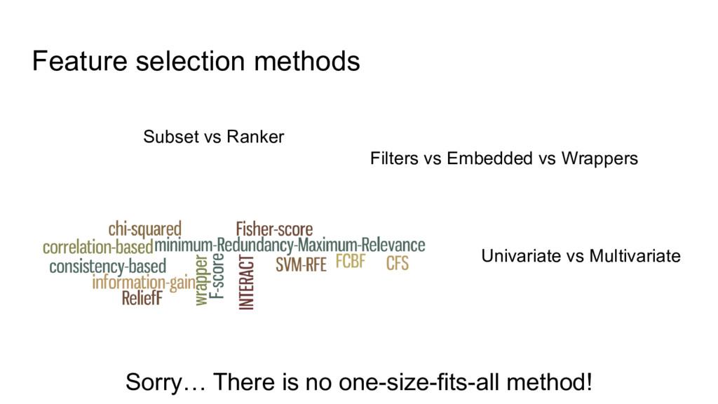 Feature selection methods Subset vs Ranker Filt...